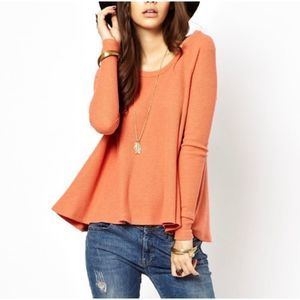 We The Free People Coral Pink Waffle Knit Shirt